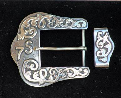 Polished steel with solid sterling silver mountings made for Terry Stuart Forst, Stuart Ranch, Waurika OK